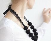 Black long beads necklace cotton for women lace textile beads monochrome