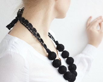 Black long beads necklace cotton for women lace textile beads monochrome