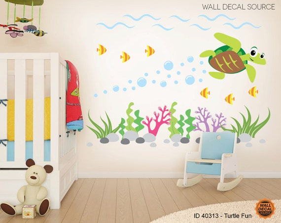items similar to sea turtle wall decals ocean wall decal sea animal vinyl stickers on etsy. Black Bedroom Furniture Sets. Home Design Ideas