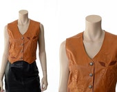 Vintage 70s Leather Hippie Vest 1970s Flower Applique Floral Design Rocker Western Woodstock Festival Rockabilly Jacket