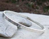Sterling Silver Bangle Bracelet, 4x2mm 925 Silver Rectangle Wire, Ridged Hammer Texture, Sturdy Size Small Bracelet, 2 3/8 Diameter