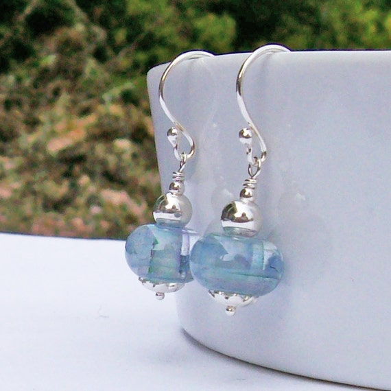 Sterling Silver Earrings with Blue, Grey, Lavender and Mauve Lampwork Glass Beads, Small Handmade Artisan Grey-Blue Glass and Silver Dangles