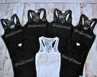 7 Bridesmaid Tank Top Shirt. Half Lace. Bride, Maid of Honor, Matron of Honor. Bridal Party Rhinestone Shirts. Bachelorette Party Tank Tops