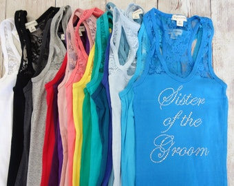 Sister of the Bride Tank Top. Half Lace. Bridesmaid Shirts Bridesmaid Tanks Bride Tank Bachelorette Party Shirts Bridesmaid Gifts Bride Gift