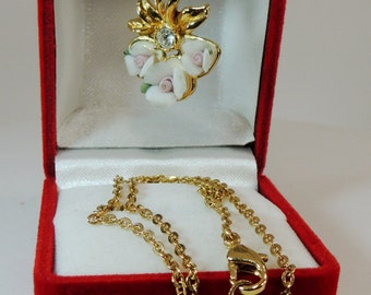 Triple Porcelain Roses with Rhinestone Accented by Gold tone Leaves by Avon