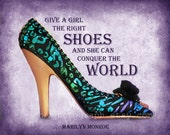 Give a Girl the Right Shoes - Purple - photo print - Shoe Peacock Typography Quote Poster Marilyn Monroe Wall Art Teen Girls Room