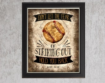 Babe Ruth Baseball Quote - unframed photo print -  Poster Wall Art Textured Distressed Beige Tan Black Vintage Sports Dad Boys Room Decor