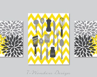 Kitchen Art Prints - Cooking is Happiness - Utensils, Chevron, Flower Bursts Wall Art  - Set of 3 -  Grey Yellow