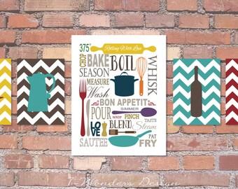"Kitchen Art Subway Style with Chevrons Prints - Set of (5) - 5"" x 7's"" and 11"" x 14"" // Modern Kitchen Art Decor"