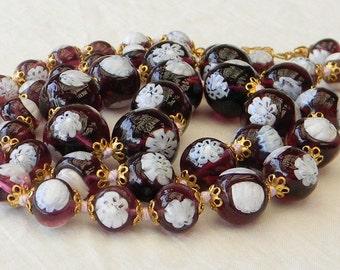 Vintage 1950s Italian Venetian Murano Amethyst Purple Hand Knotted Bead Necklace