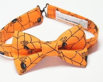 Bow Tie - Halloween Orange with Spider Webs Bowtie