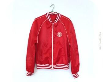 70s baseball jacket, red baseball jacket, vintage baseball jacket