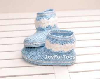 Crochet baby booties Crocheted shoes Baby slippers Kids' booties Children shoes  blue white pastel joyfortoes