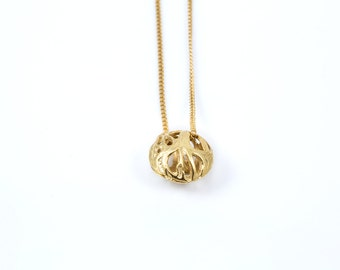 Small Gold scoop slug  pendant  from the sabrawear collection  .Gift for her,ready to ship
