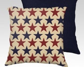 """18"""" X18"""" Vintage look Americana Large Stars Pillow Zippered Cover / Case w/ Choice of Red or Navy back.SUPER Luxurious Soft!"""