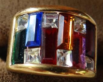 Vintage MultiColored Rainbow Rhinestone Ring Gold Band size 5.5
