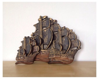 Set of 3 Vintage Plaster Clipper Ship Wall Plaques