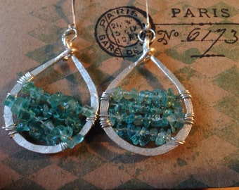 Aquamarine and Argentium Silver earrings