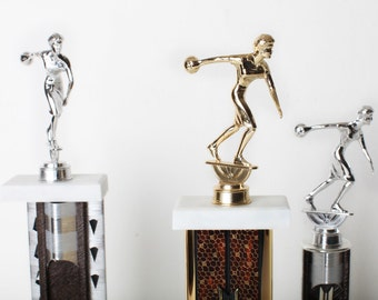 Vintage Bowling Trophy Collection, Gold and Silver Metal and Wood Trophy's