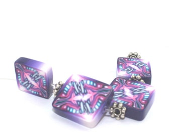 Polymer Clay square abstract beads, pinks, purple, blue and white square flat beads, Set of 4 unique beads