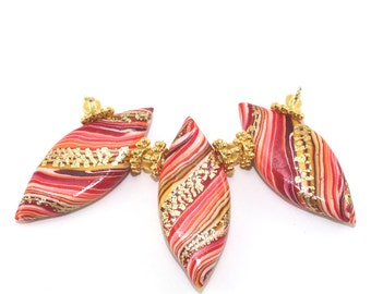 Colorful leaf shaped beads, 3 Polymer Clay stripes beads in warm colors, unique Marquise beads with gold, Ombre beads for Jewelry making
