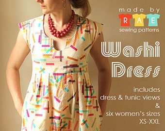 Washi Dress Pattern by Made by Rae - Dress Sewing Pattern - Pattern - Washi - Sewing Pattern - Tunic Pattern - Cap Sleeve Dress