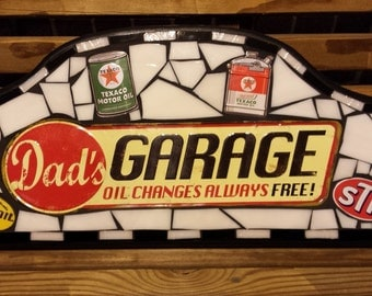 Mosaic Sign, Stained Glass Wall Hanging, Garage Decor, Wall Decor, Mosaic Stained Glass