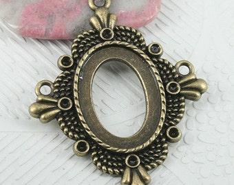 6pcs antiqued bronze color rim frame pendant cabochon setting  EF0723