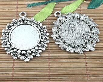 4pcs tibetan silver 42mm round flowers rim cabochon settings EF0984