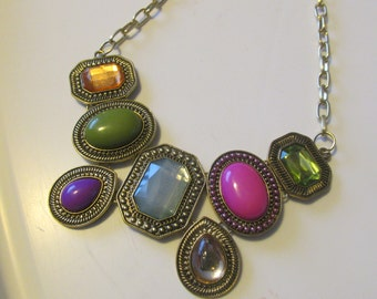 Multi Colored Bib Necklace, Stunning Bib Necklace