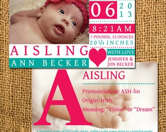 Double-Sided Birth Announcement with Name Pronunciation, Origin, Meaning and Description