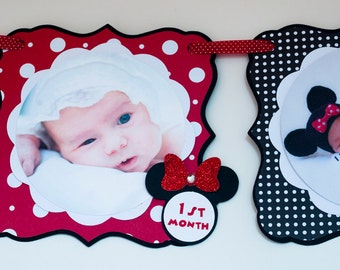 Minnie Mouse Photo Banner,  Minnie Mouse 1st Birthday, Minnie Mouse 1st Birthday Party Photo Banner