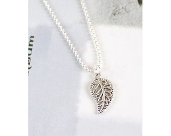 Unique Antique/Tibetan Silver Engraved Lucky Leaf Pendant with Fine Ball Chain Necklace