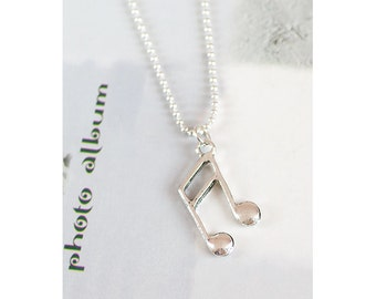 Unique Antique/Tibetan Silver Musical Note Charm Pendant with 1.5mm silver Plated Fine Ball Chain Necklace