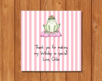 Frog Prince Gift Tags KBI739GT Square Favor Tags, Editable and Printable-PDF Files, Instant Download