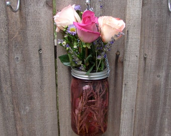 Hand Made Mason jar Hanging Vase With Frog Lid - Rose Color