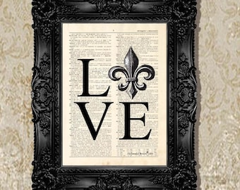 "Dictionary Print: - ""Vintage - Love Those Saints "" - up-cycled vintage book page, Saints Fan art, Go Saints, New Orleans Saints Art"