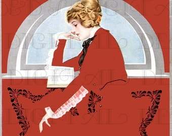 Engrossed in the Story! Flapper In Red Reads. Coles Phillips READING Vintage Illustration. Reading/Books DIGITAL Download.