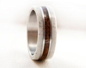 mens wedding band wood and antler wedding ring staghead designs