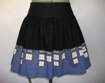 Blue Police Boxes Doors Skirt