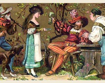 Thanksgiving Fabric Block - Elizabethan Hunter Gentleman Girl Innkeeper