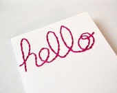 """greeting card, magenta, hand embroidered """"hello'"""