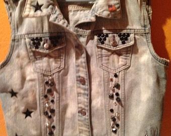 Johnny Cash Studded Grunge Vest