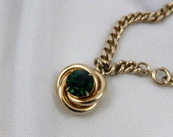 Vintage Emerald Green Charm Bracelet / Mid Century Charm Bracelet