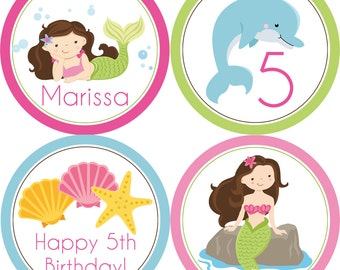 Mermaid Party Circles - Hot Pink, Lime Green and Blue, Cute Mermaid Girls Personalized Birthday Party Circles - A Digital Printable File