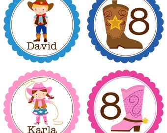 Cowboy Party Circles - Blue, Brown and Pink, Western Twin Cowboy and Cowgirl Personalized Birthday Party Circles - A Digital Printable File