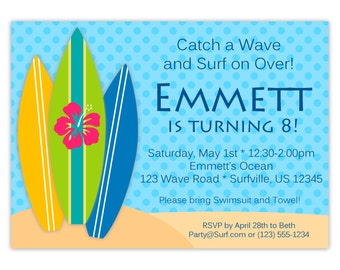 Surf Invitation - Blue Polka Dot Sky, Lime Green, Blue and Yellow Surfboards Personalized Birthday Party Invite - Digital Printable File