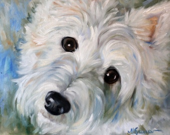 PRINT Westie West Highland Terrier Dog lover Art Signed by Mary Sparrow