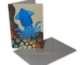 Handmade fun seaside squid gift card in blue, orange and brown
