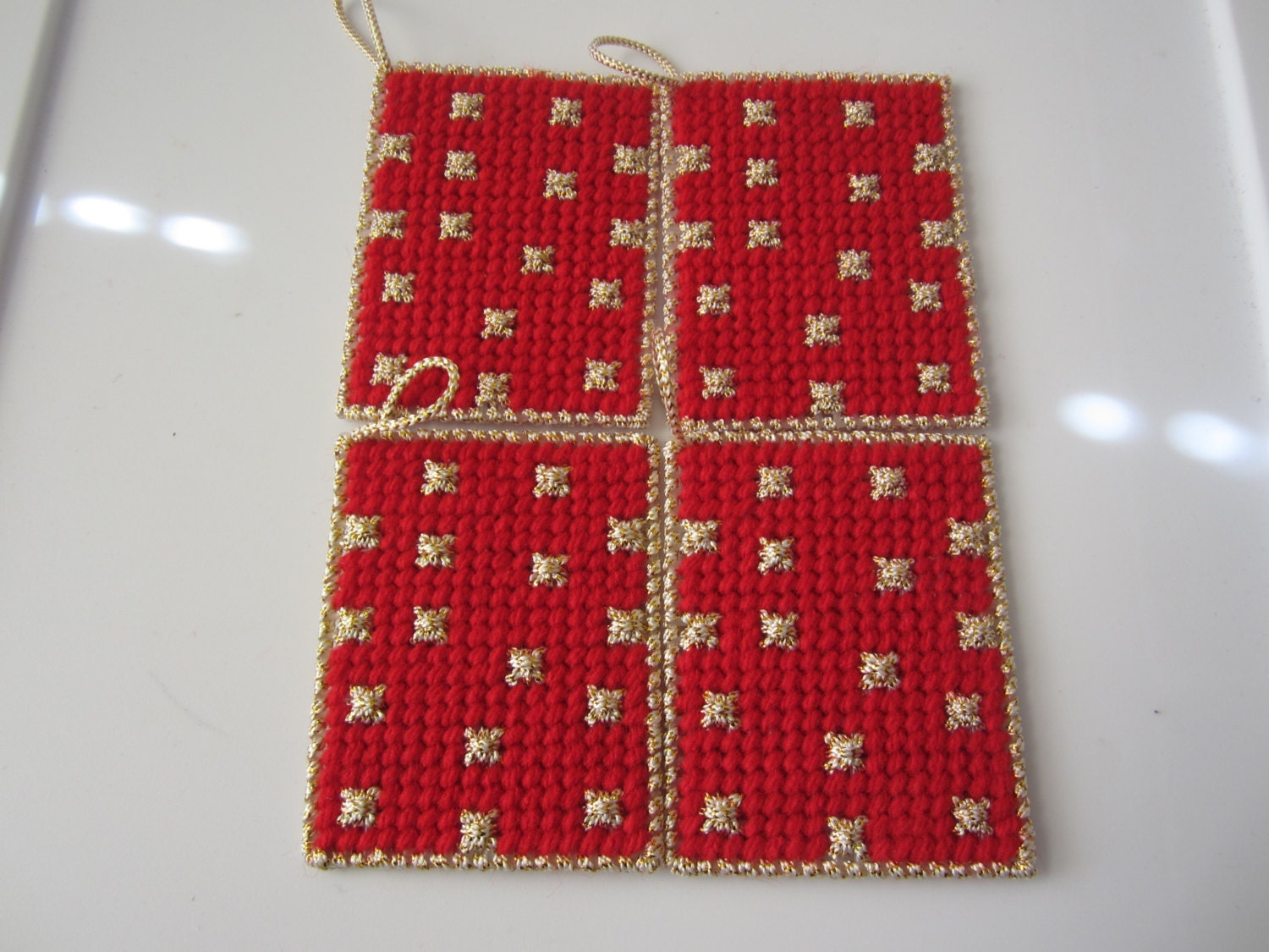 RED with GOLD SNOWFLAKES Christmas Ornaments in Plastic Needlepoint